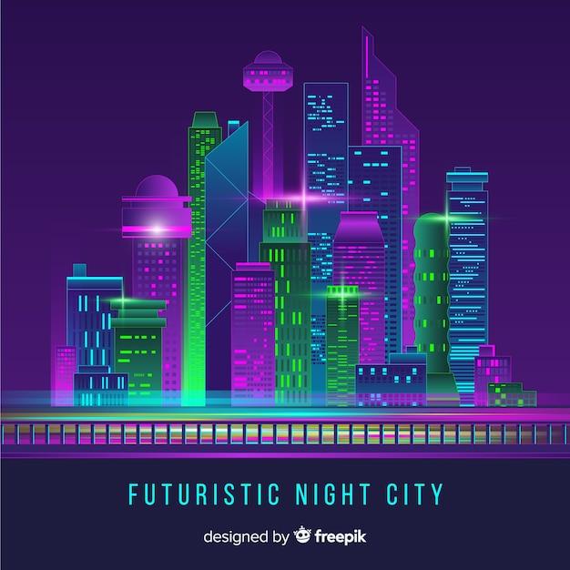 Priorità bassa futuristica dell'orizzonte della città Vettore gratuito