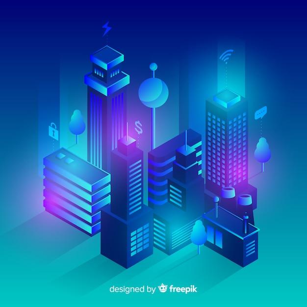 Priorità bassa futuristica della città isometrica Vettore gratuito