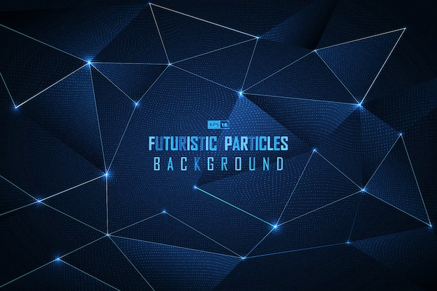 Priorità bassa futuristica delle particelle del puntino blu astratto. Vettore Premium