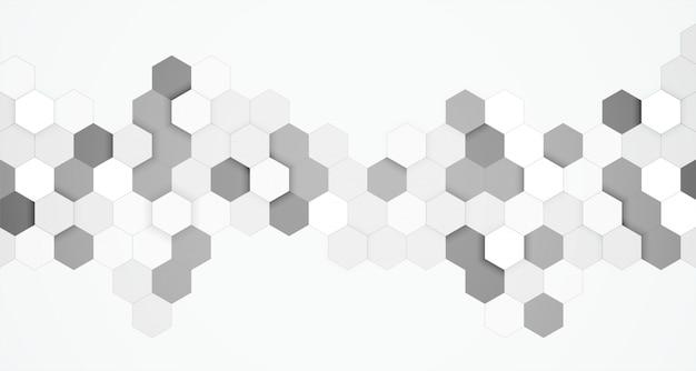 Priorità bassa in bianco e nero esagonale astratta 3d Vettore gratuito