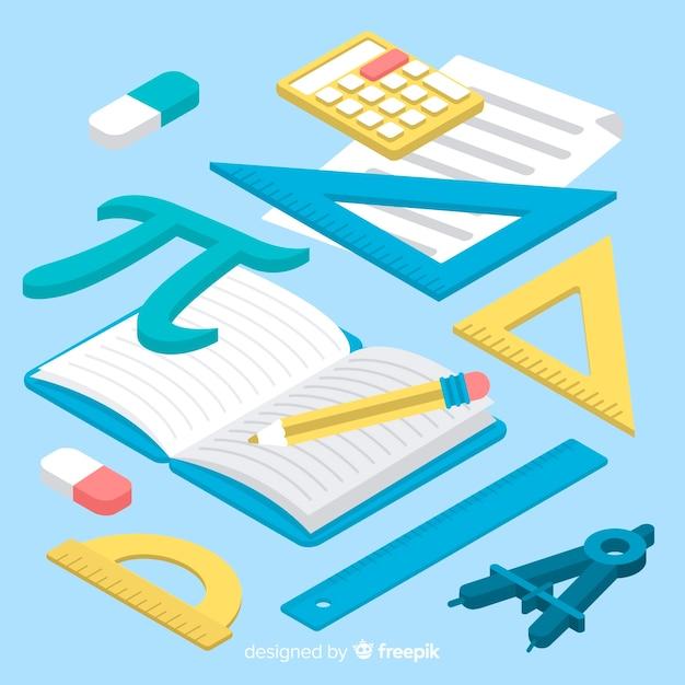 Priorità bassa materiale di matematica isometrica Vettore gratuito
