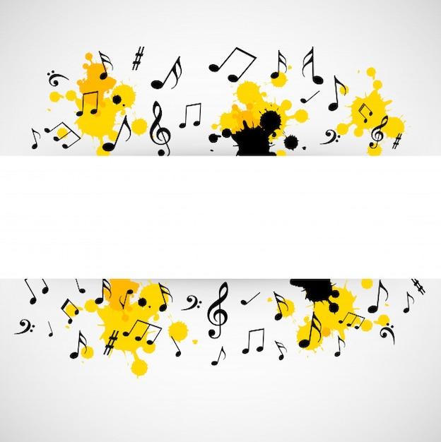 Priorità bassa musicale astratta con il segno in bianco Vettore Premium