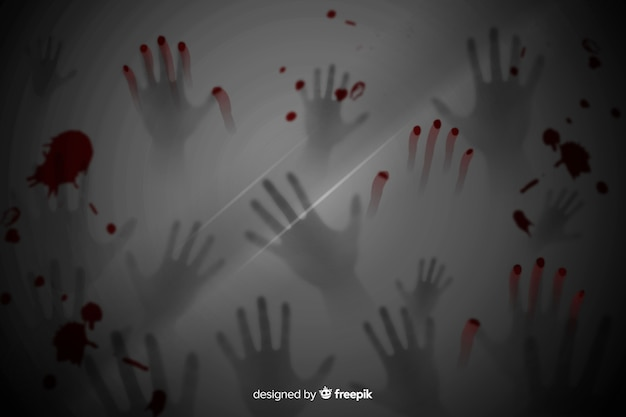 Priorità bassa realistica di halloween delle mani terrificanti Vettore gratuito