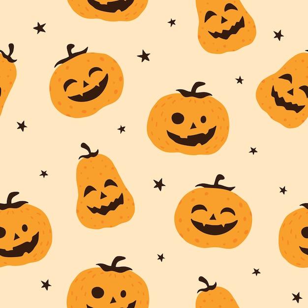 Priorità bassa senza giunte del reticolo di vettore sorridente della zucca di halloween, carta da parati, struttura, stampa Vettore Premium