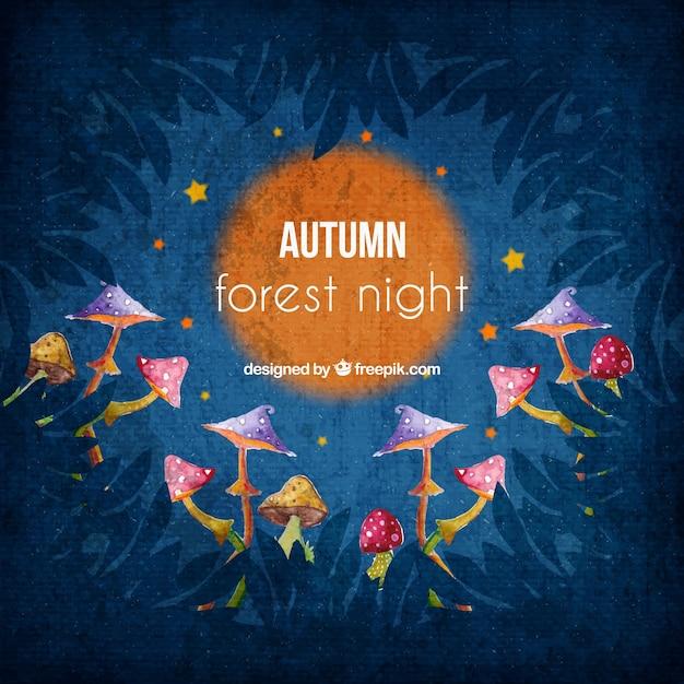 Priorità bassa sveglia di acquerello foresta di notte con i funghi Vettore gratuito