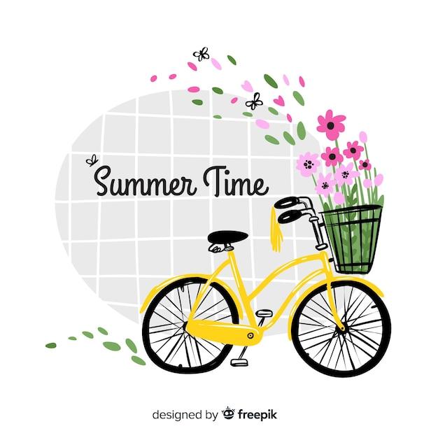 Priorità bassa variopinta disegnata a mano di estate di ciao Vettore gratuito