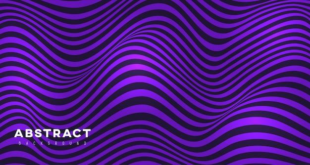 Priorità bassa viola astratta delle righe ondulate 3d Vettore Premium