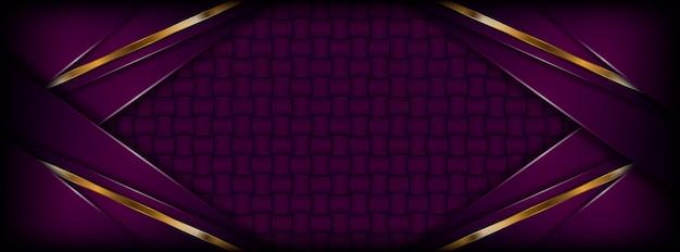 Priorità bassa viola scura astratta moderna con strati dorati di sovrapposizione Vettore Premium
