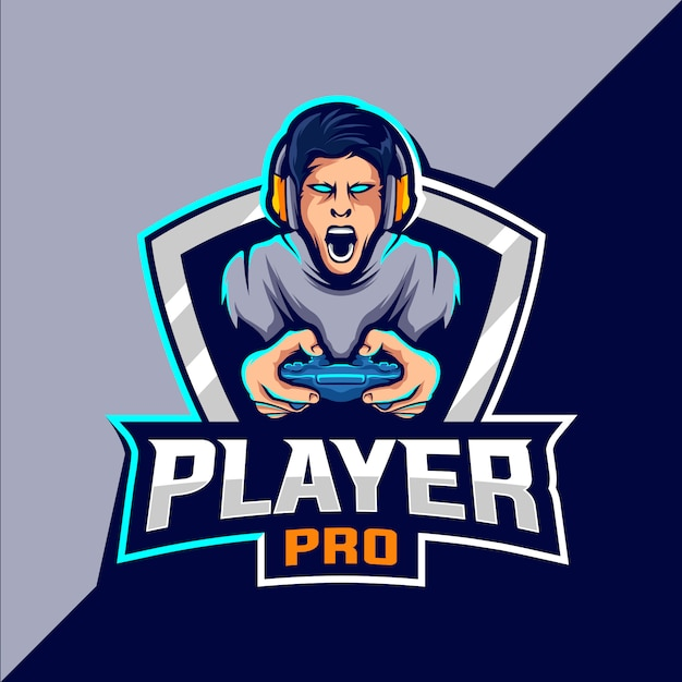 Pro player esport gioco logo design Vettore Premium