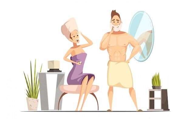 Procedura igienica di depilazione delle coppie sposate nel bagno della famiglia insieme al carretto bagnato dell'uomo di rasatura Vettore gratuito
