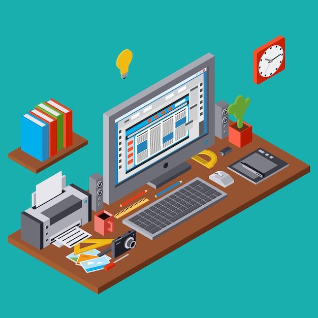 Processo creativo, web design grafico, sviluppo sito web 3d isometrico illustrazione vettoriale concetto di sviluppo Vettore Premium