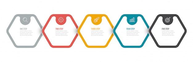 Processo di business. progettazione infografica timeline con 5 opzioni, gradini, esagono. Vettore Premium