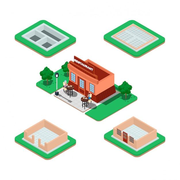 Processo di costruzione della casa isometrica. Vettore Premium