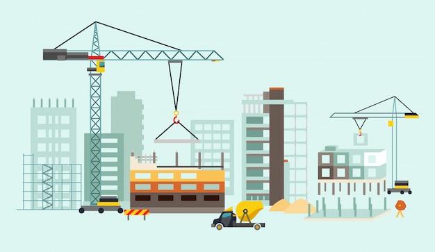 Processo di costruzione di edifici con case e macchine da costruzione Vettore Premium