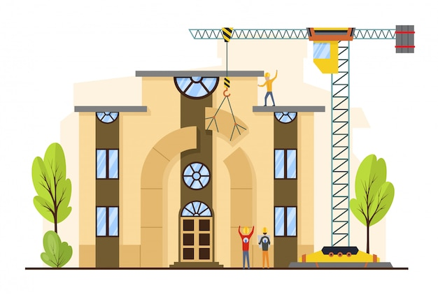 Processo di costruzione di edifici con case e macchine da costruzione. Vettore Premium
