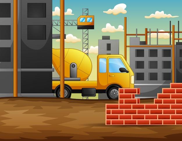 Processo di lavoro del cantiere in costruzione con macchine Vettore Premium