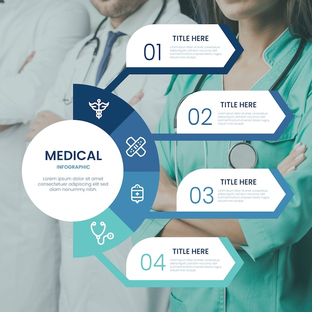 Processo di presentazione infografica medica Vettore gratuito