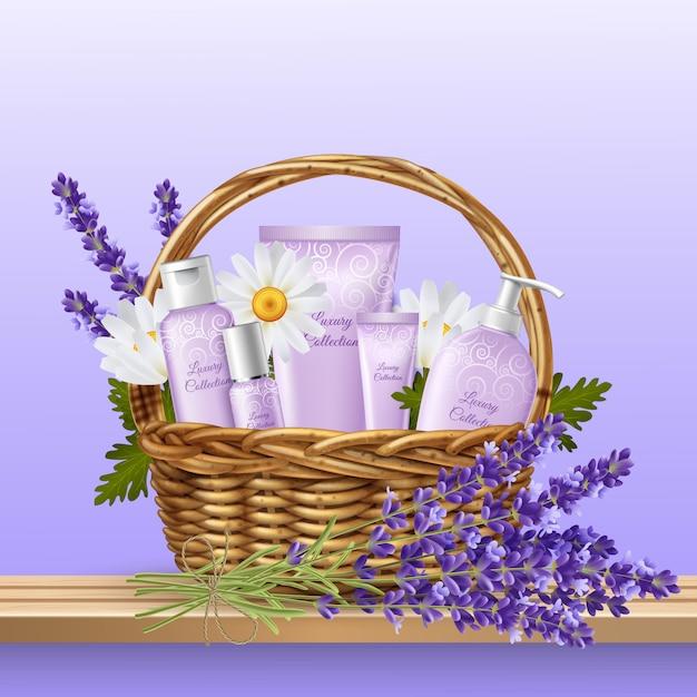 Prodotti cosmetici in cesto di vimini Vettore gratuito
