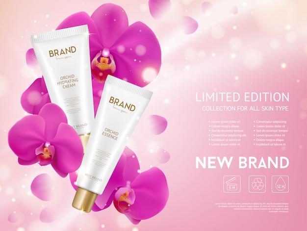 Prodotti cosmetici per orchidea essence Vettore gratuito