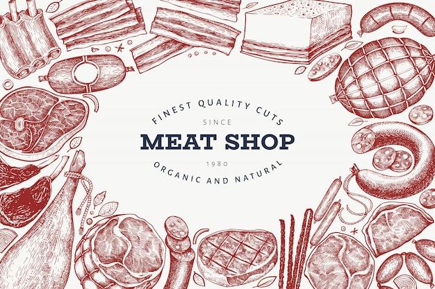Prodotti di telaio di carne retrò vettoriale Vettore Premium