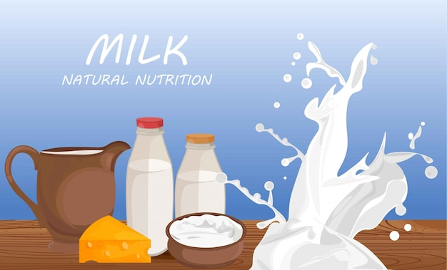 Prodotti freschi a base di latte vector piatto stile etichetta banner illustrazioni Vettore Premium