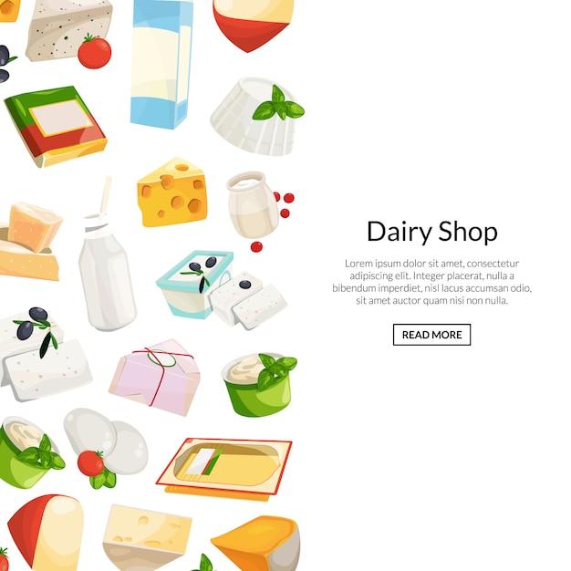 Prodotti lattiero-caseari e formaggi del fumetto con l'illustrazione del copyspace Vettore Premium