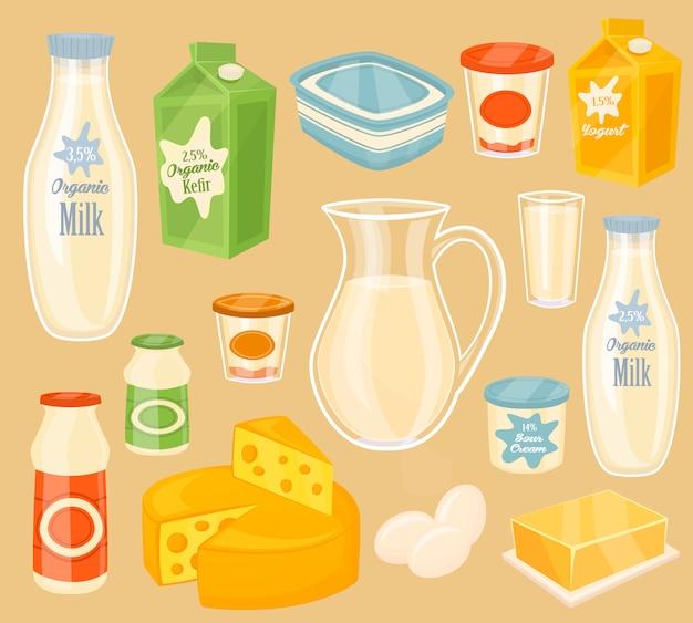 Prodotti lattiero-caseari sul tavolo di legno, latte, icona Vettore Premium