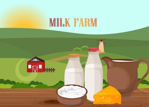 Prodotti lattiero freschi. illustrazione di bandiera del modello di etichetta in stile piatto di villaggio dell'azienda agricola Vettore Premium