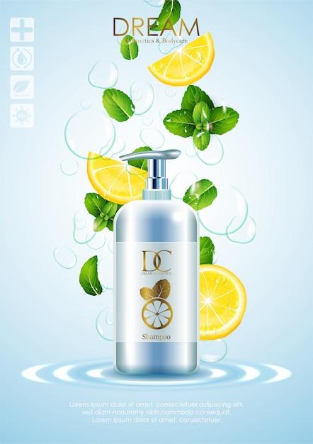 Prodotti naturali per la cura della pelle con foglie e limone Vettore Premium