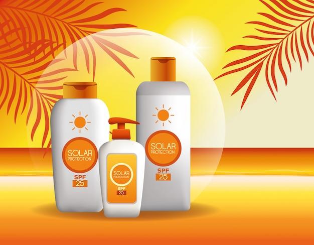 Prodotti per la protezione solare per l'estate Vettore gratuito