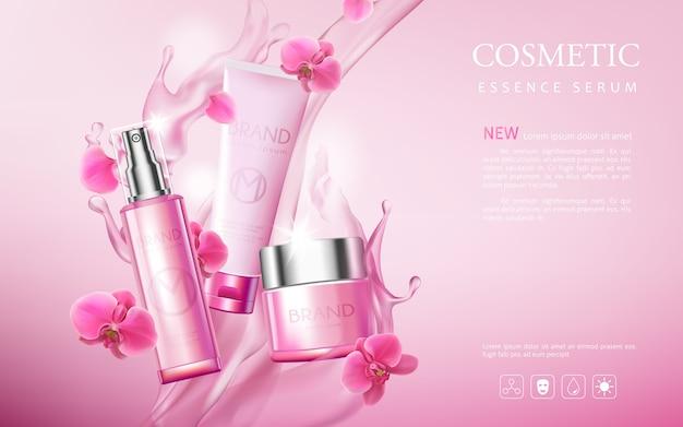 Prodotti premium di poster cosmetico, sfondo rosa con bella bottiglia e consistenza acquosa Vettore Premium
