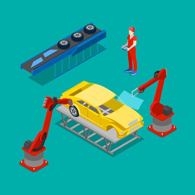 Produzione auto isometrica. catena di montaggio di auto nella fabbrica di automobili. Vettore Premium