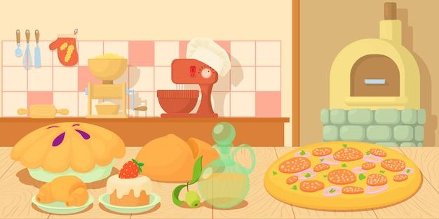 Produzione orizzontale del concetto dell'insegna del forno Vettore Premium