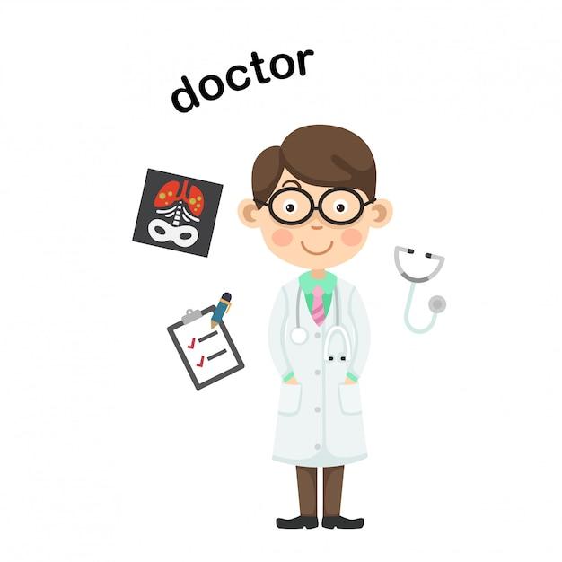 Professione doctor.vector illustrazione. Vettore Premium