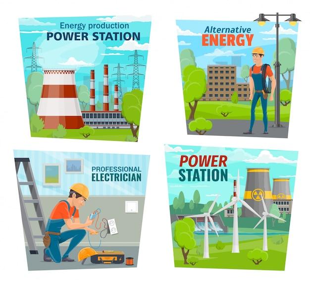 Professione elettricista, industria di generazione di energia Vettore Premium