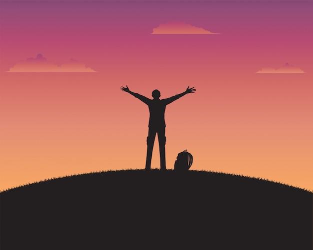 Profili felice un uomo del fondo del tramonto Vettore Premium