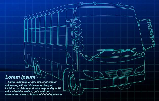 Profilo del bus sulla priorità bassa della cianografia. Vettore Premium