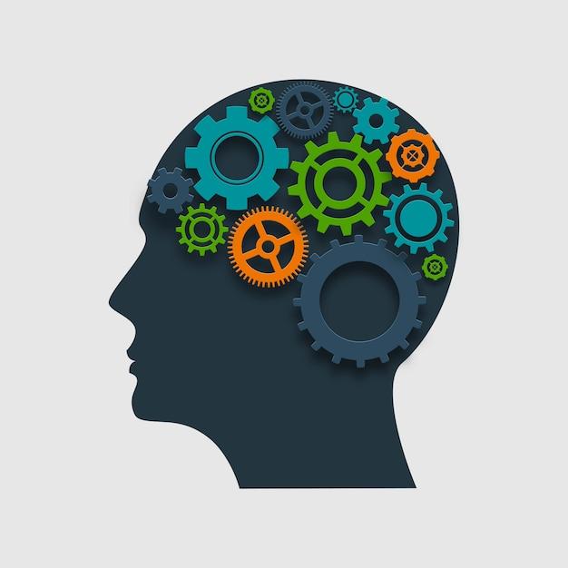 Profilo della testa con ingranaggi Vettore gratuito