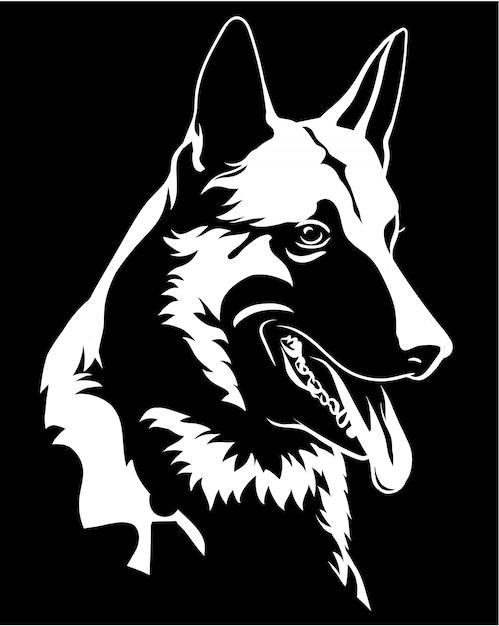 Profilo di una testa di cane malinois isolato su fondo nero Vettore Premium