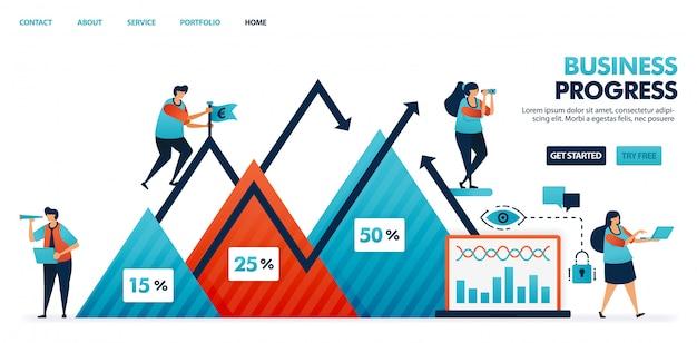 Profitti dell'azienda in un grafico a triangolo, fase di avanzamento della relazione sul piano strategico aziendale e aziendale. Vettore Premium