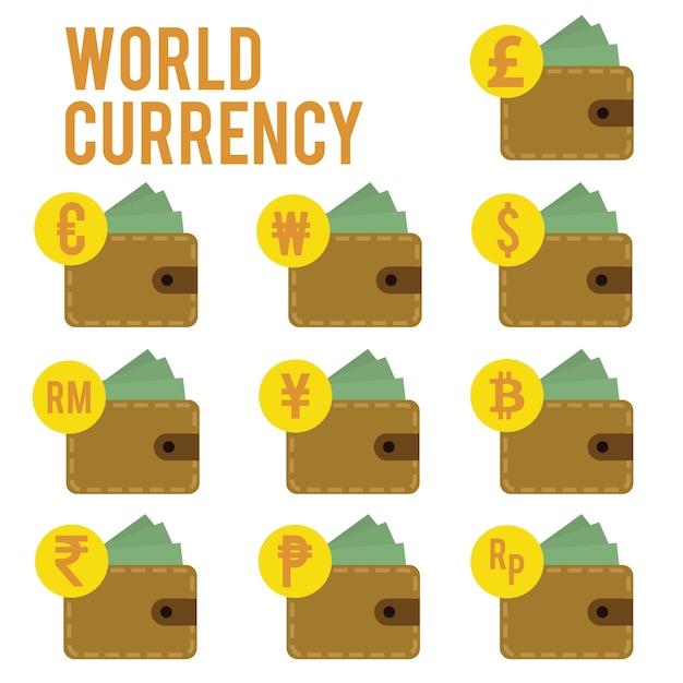 Progetta valuta mondiale piatta Vettore Premium