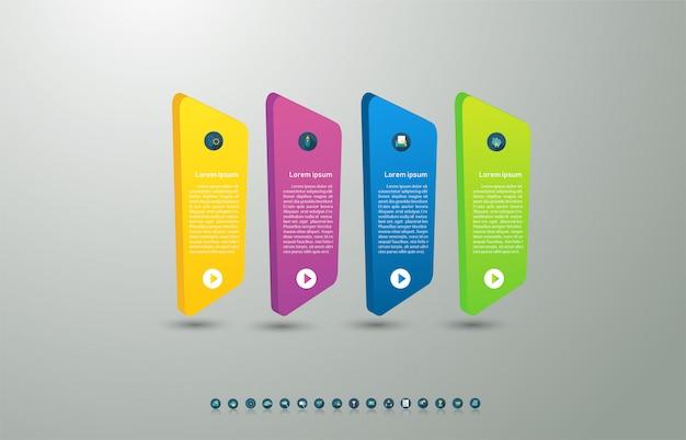Progettare il modello di business 4 opzioni o passaggi elemento grafico infografica. Vettore Premium