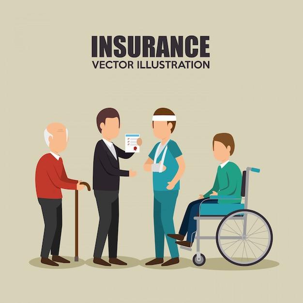 Progettazione assicurativa agente sano Vettore gratuito