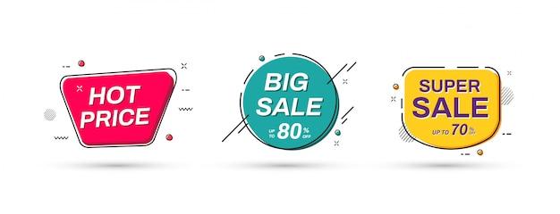 Progettazione astratta dell'insegna di promozione di vendita. modelli di banner di vendita. Vettore Premium