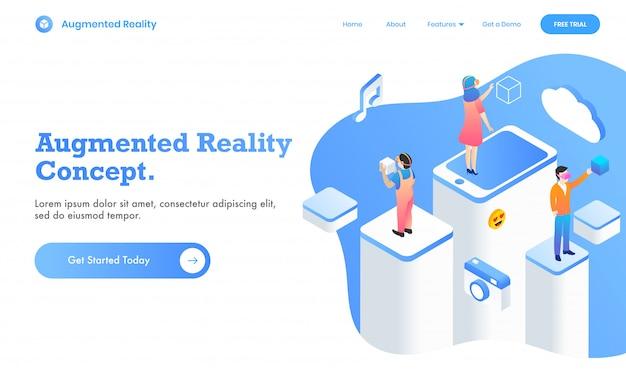 Progettazione aumentata della pagina web di concetto di realtà con l'utente che utilizza media sociali virtuali app nella piattaforma differente, illustrazione 3d. Vettore Premium