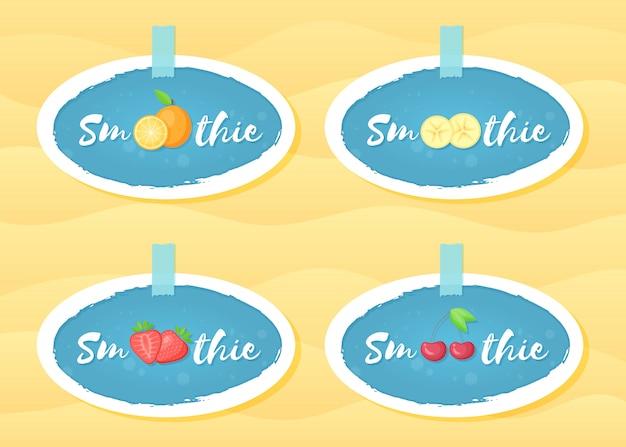 Progettazione blu di vettore di frullato di frutta del frullato dell'insieme di etichetta Vettore Premium
