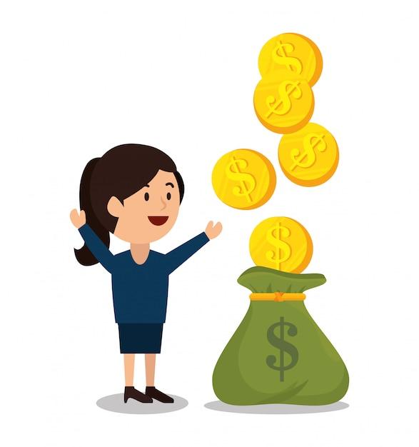 Progettazione dei guadagni dei soldi del fumetto della donna isolata Vettore Premium