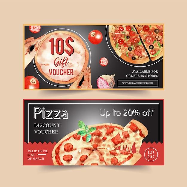 Progettazione del buono della pizza con la salsiccia, formaggio, illustrazione dell'acqua del basilico Vettore Premium