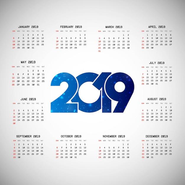 Progettazione del calendario 2019 con il vettore leggero del fondo Vettore gratuito