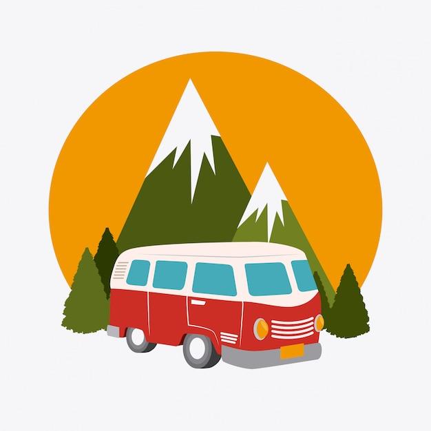 Progettazione del campeggio Vettore Premium